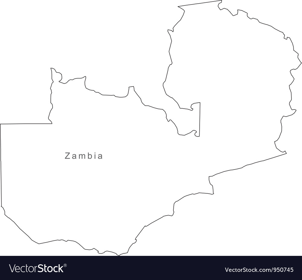 Zambian Map Vector.Black White Zambia Outline Map