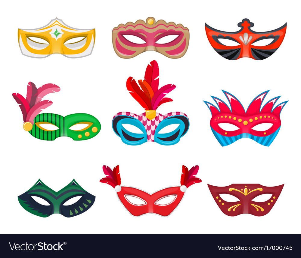 Collection venetian carnival masks hand painted