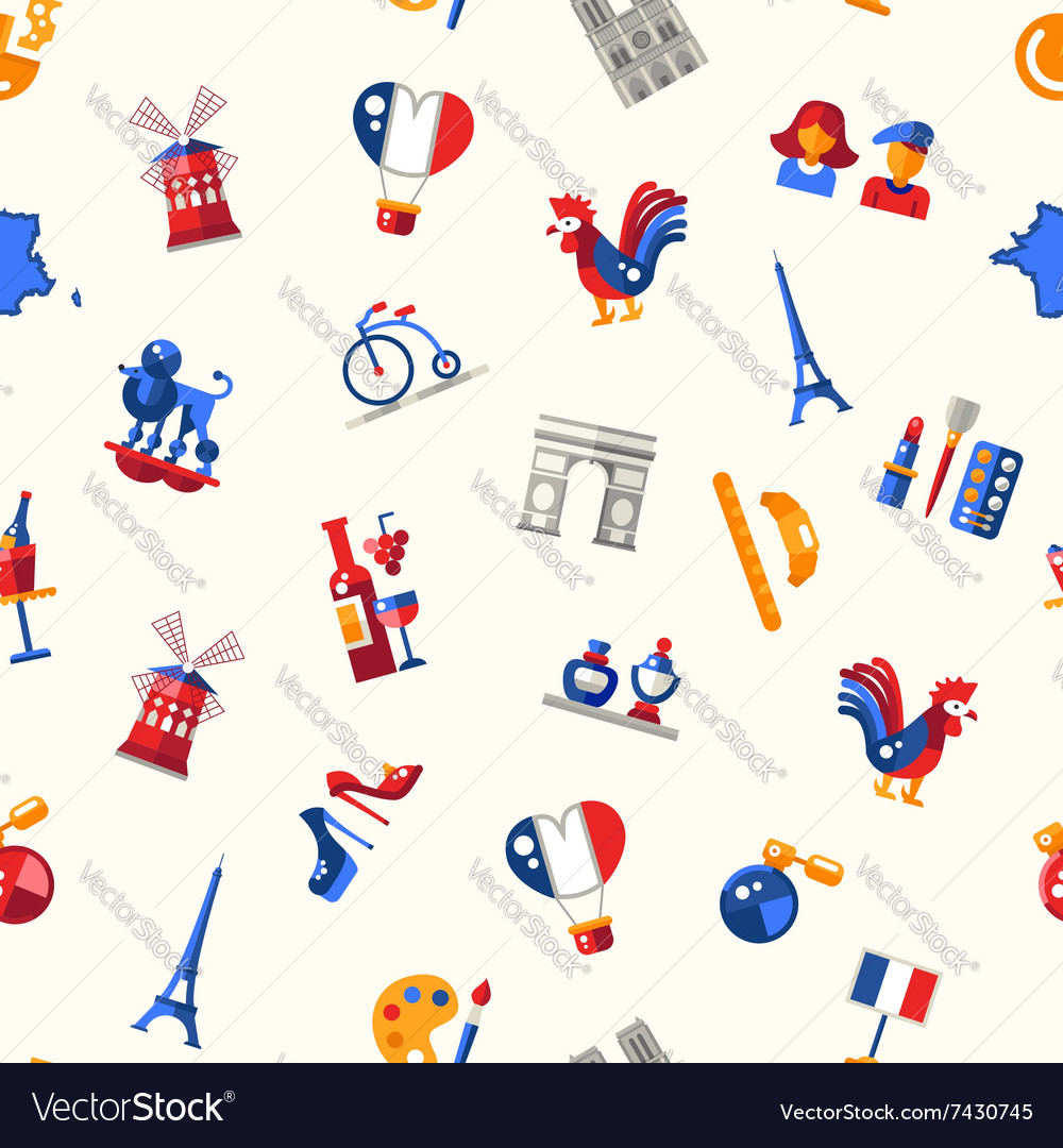 France travel icons seamless pattern with famous