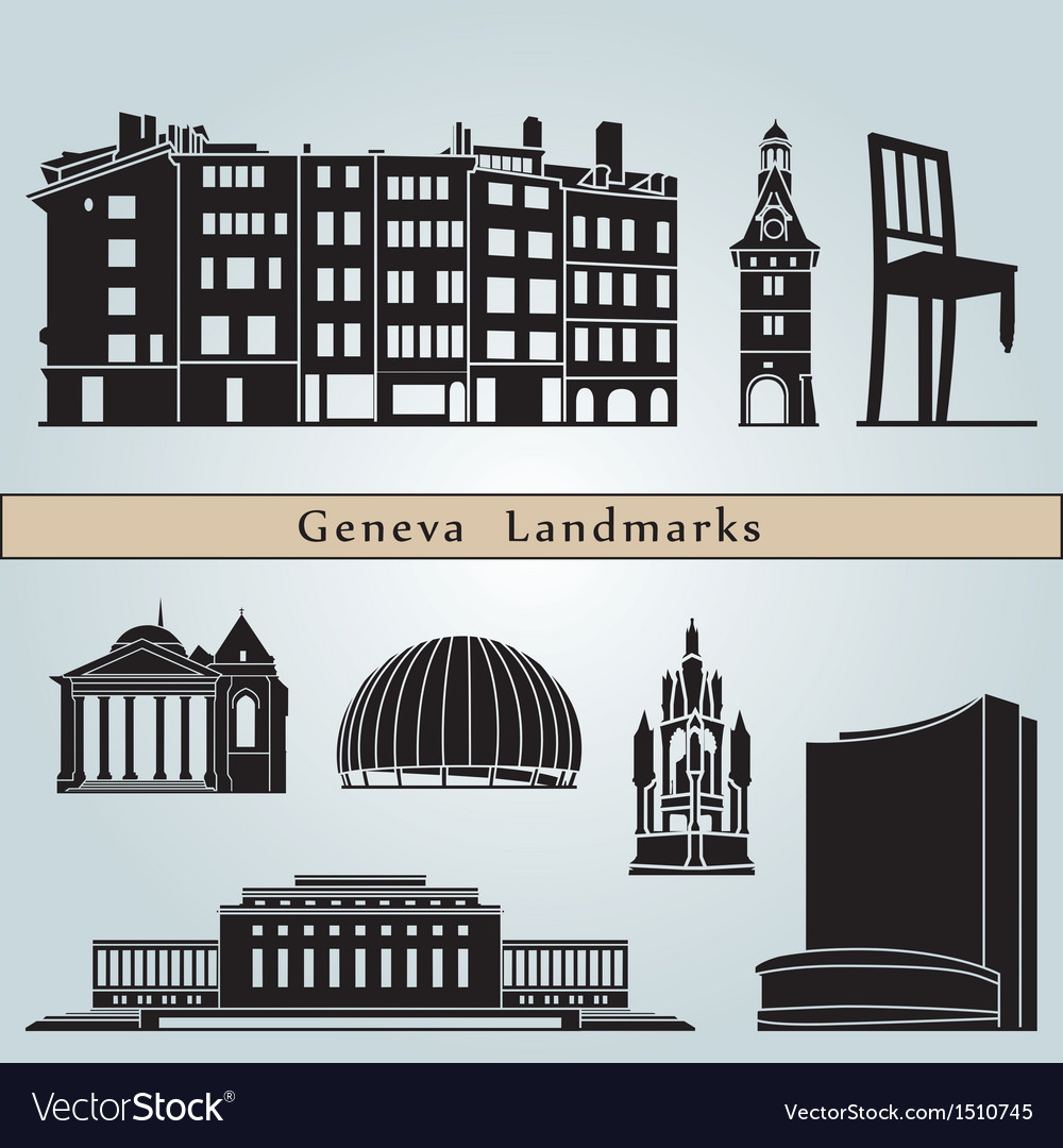 Geneva landmarks and monuments vector image
