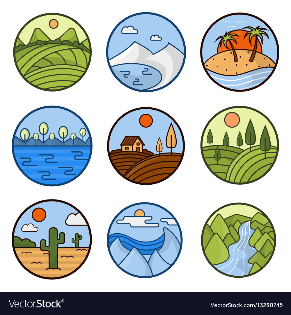 Nature landscape icons mountains ocean