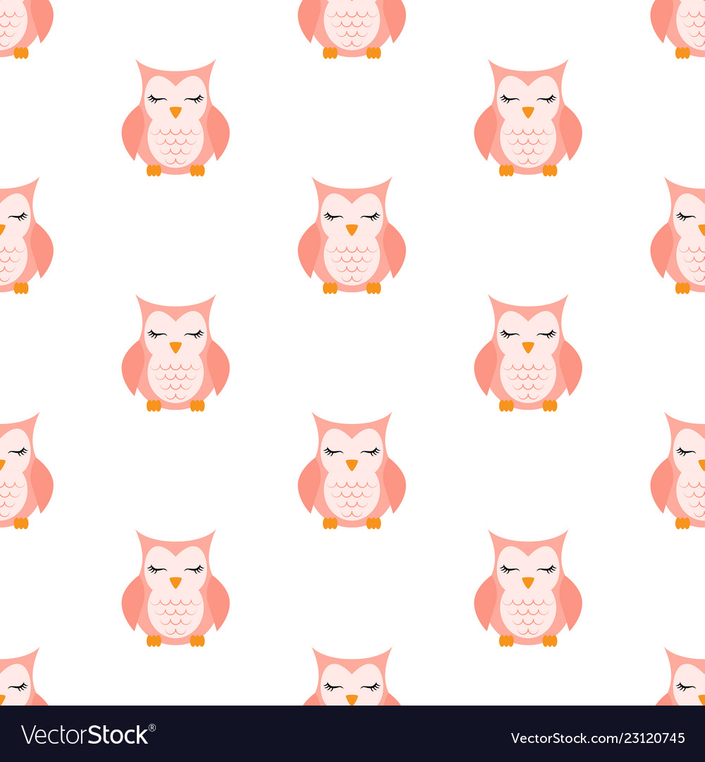 Pink sleeping owl pattern