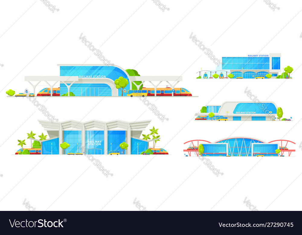 Railway station passenger train terminal building vector