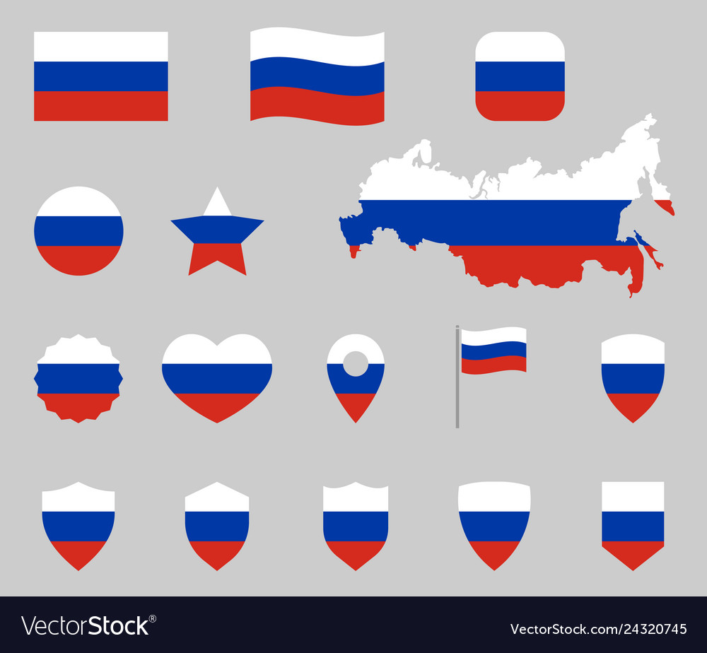 Russia flag symbols set russian national flag