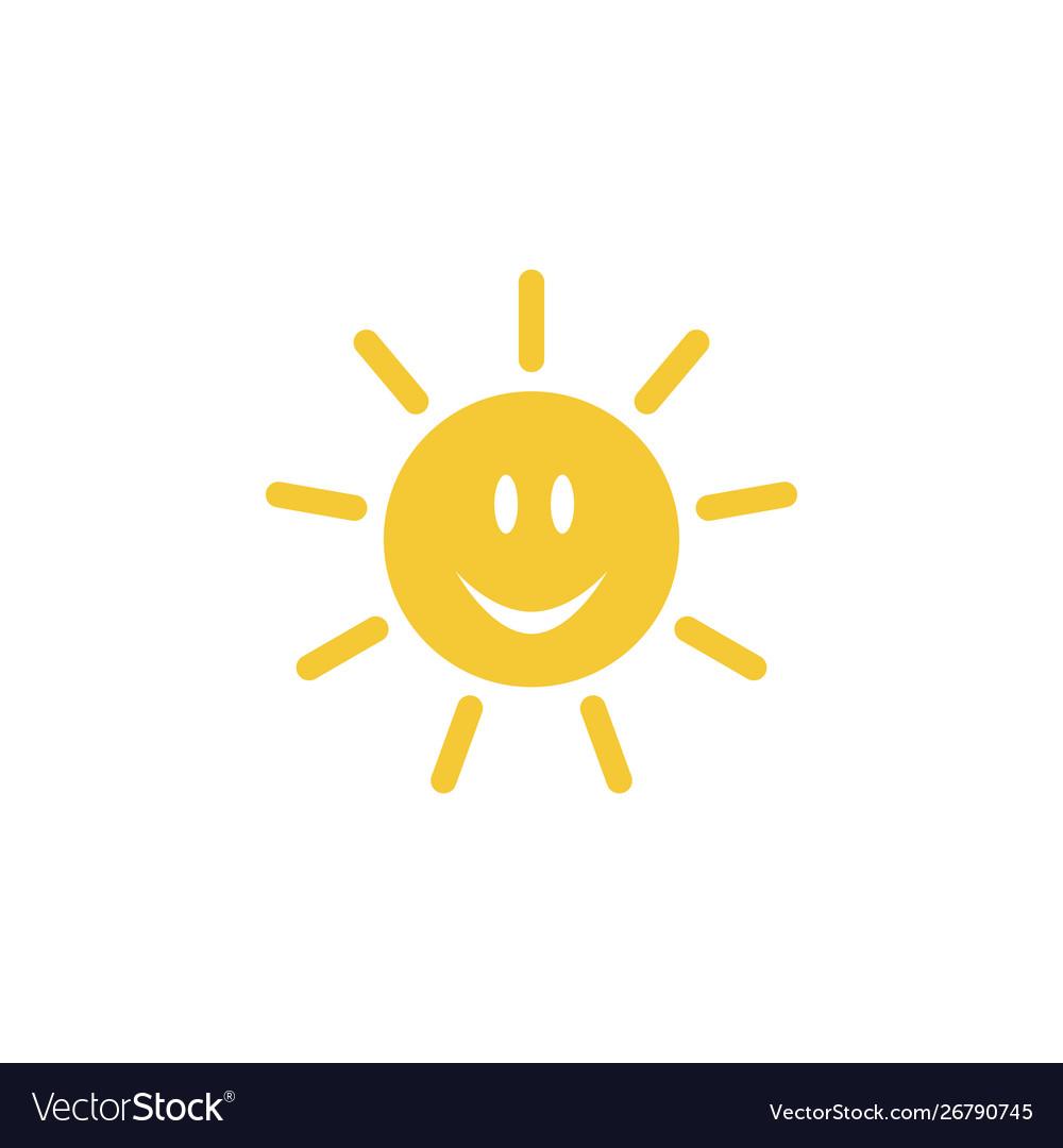 Sun emoji icon - simple element summer concept vector image