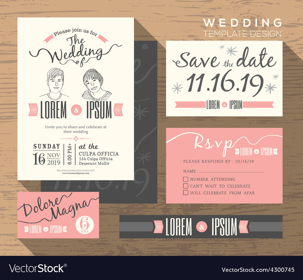 Trendy Wedding Invitation Set Design Template Vector Image