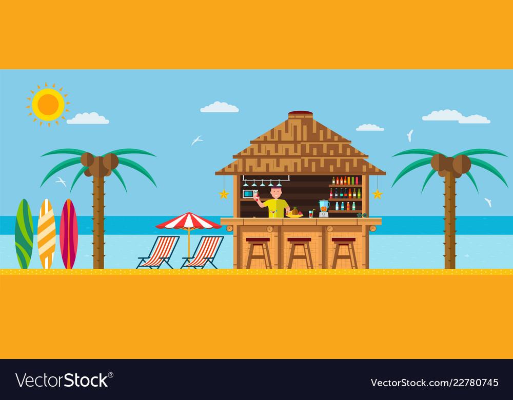 Tropical beach with a bar on the beach
