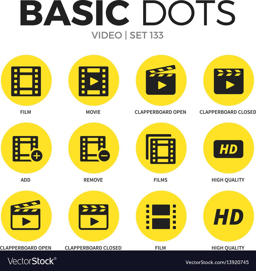 Video flat icons set