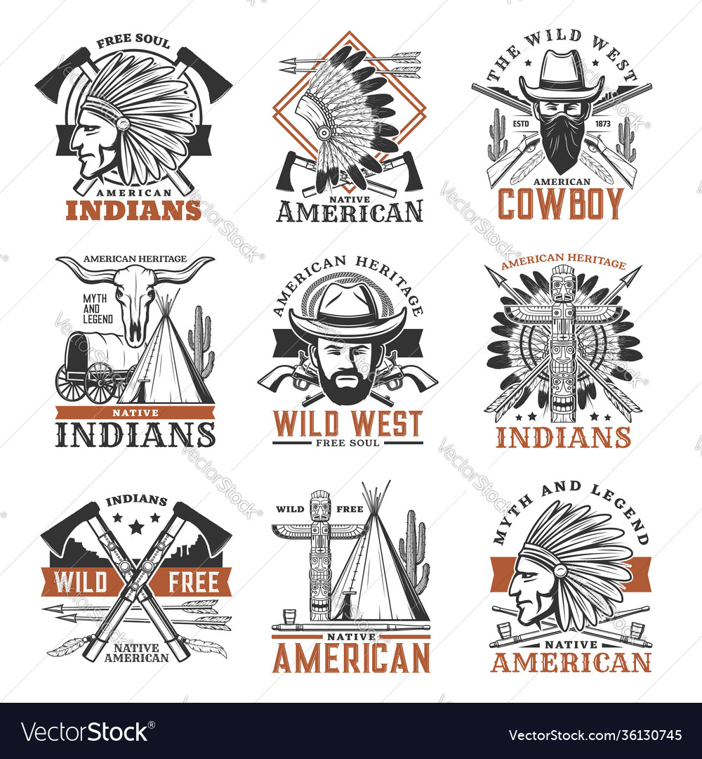 Wild west cowboy american indians icons
