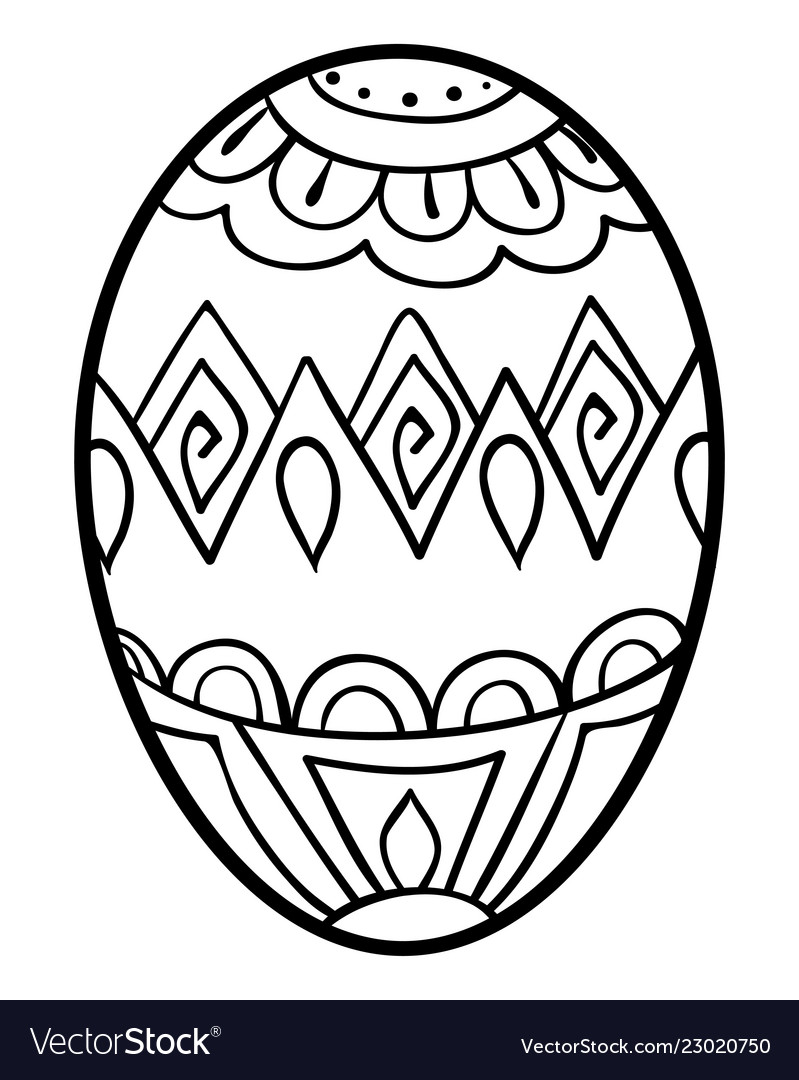 Adult coloring bookpage an easter egg image Vector Image