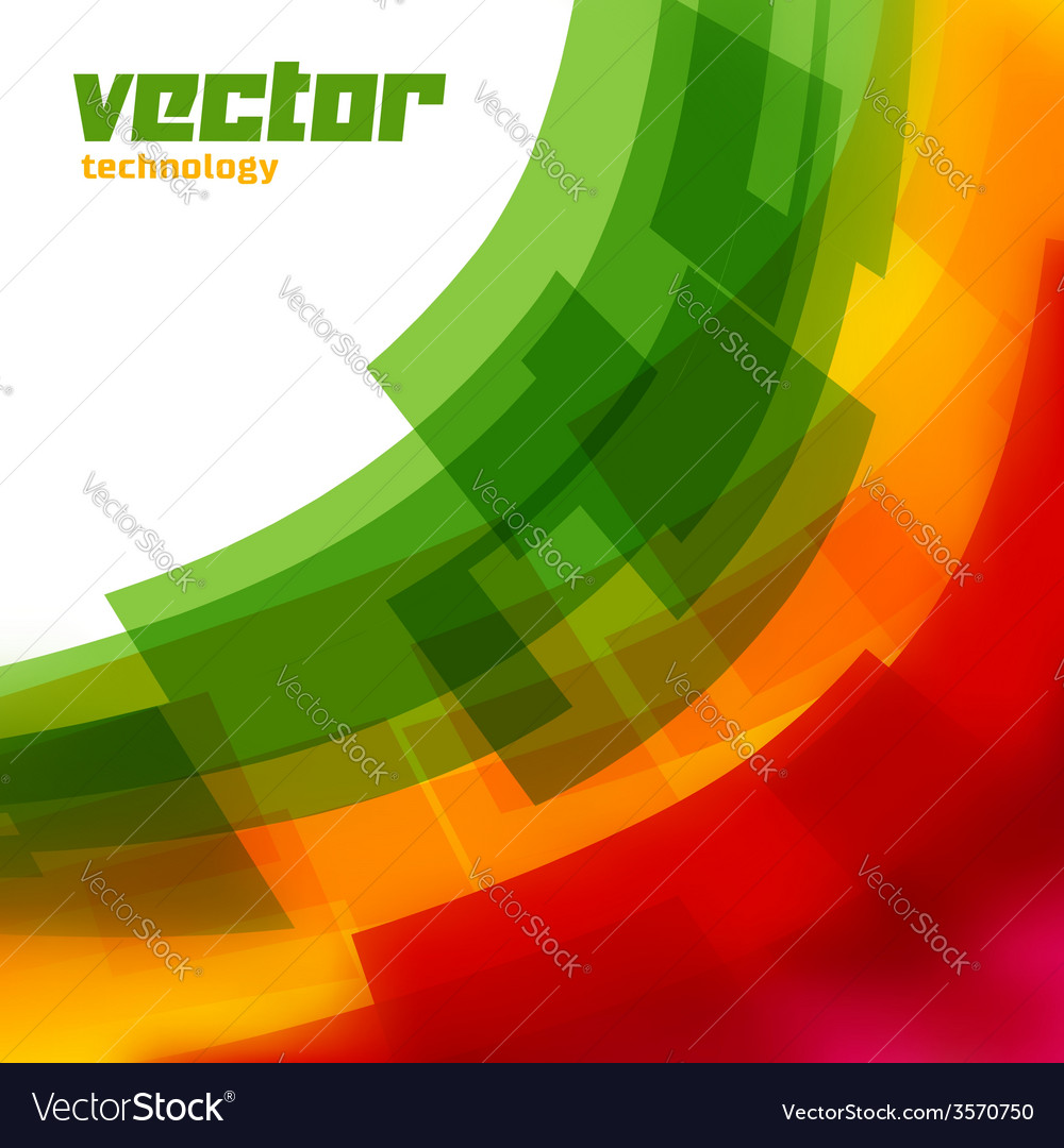 Background with green and yellow blurred lines vector image