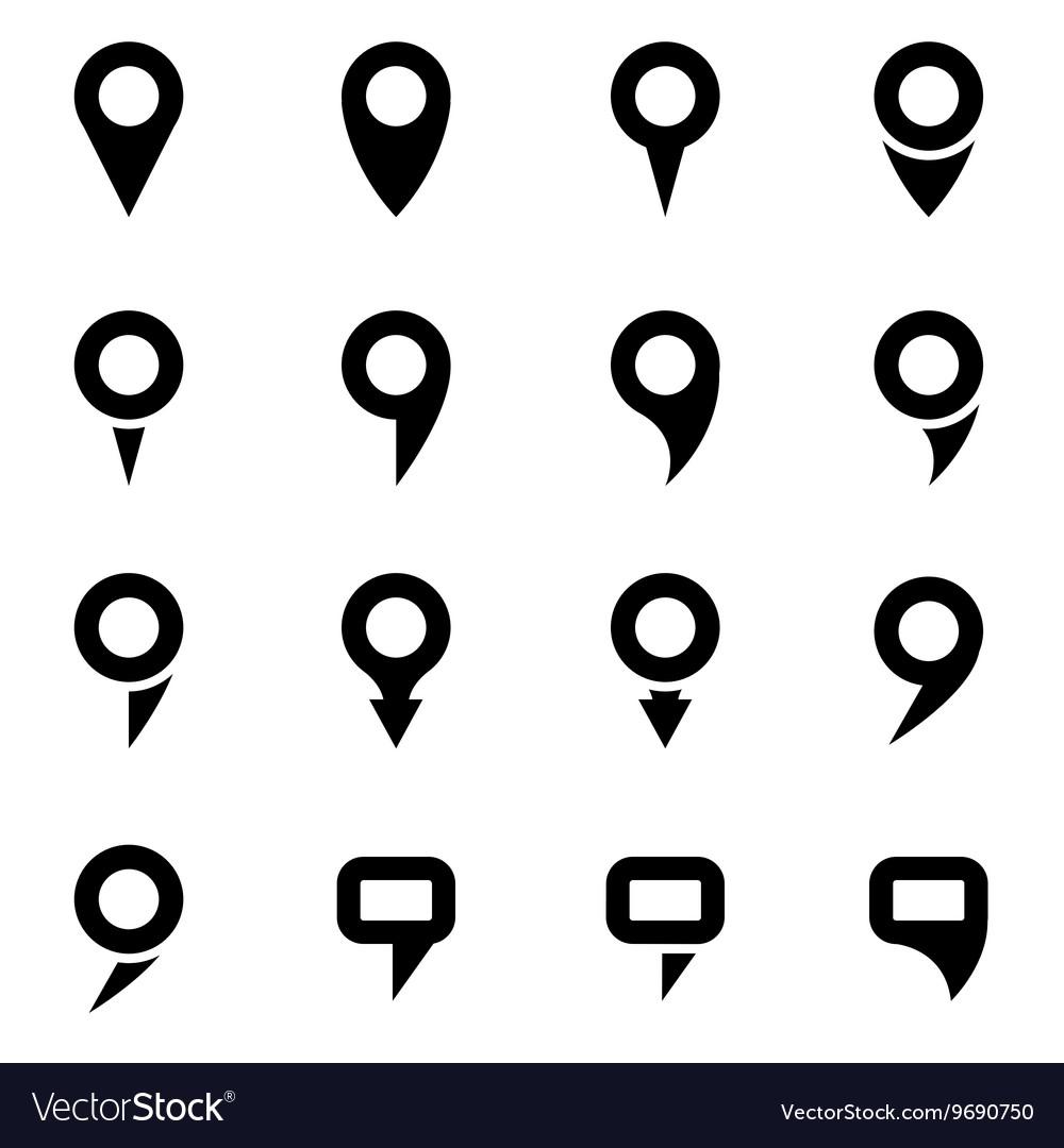 Black map pointer icon set
