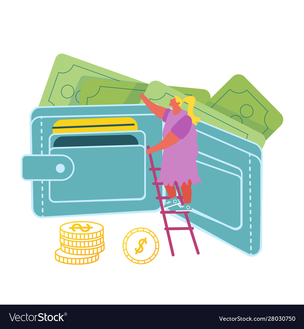 Girl stand on ladder at huge wallet with money and