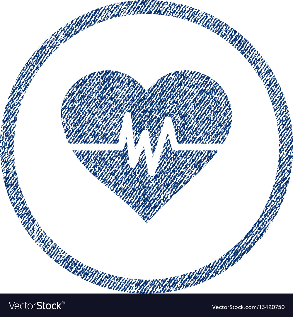 Heart pulse rounded fabric textured icon