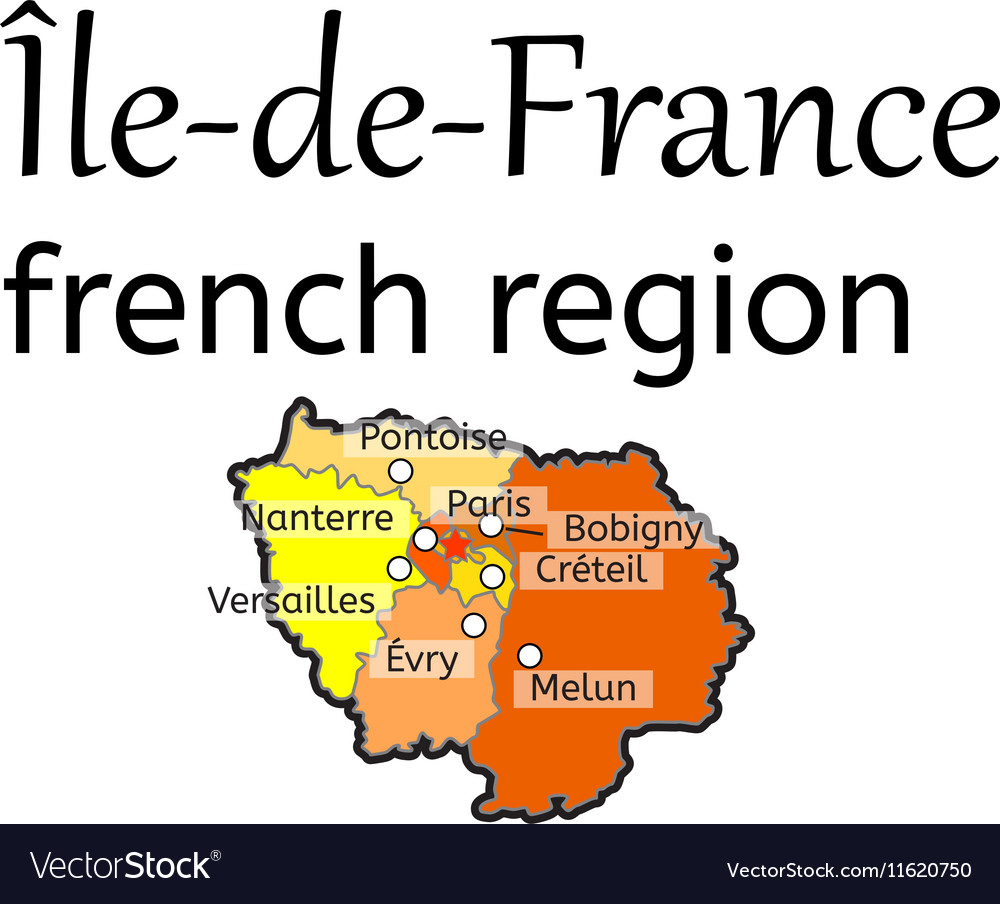 Ile De France French Region Map Royalty Free Vector Image