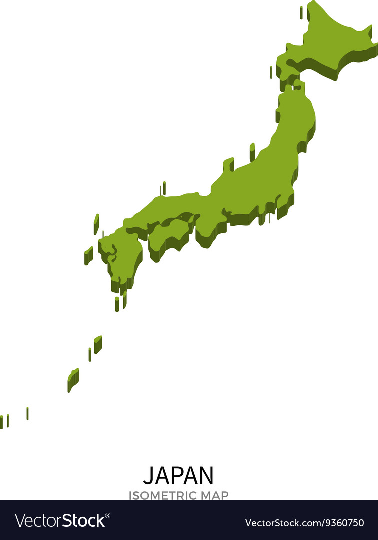 Isometric map of Japan detailed vector image