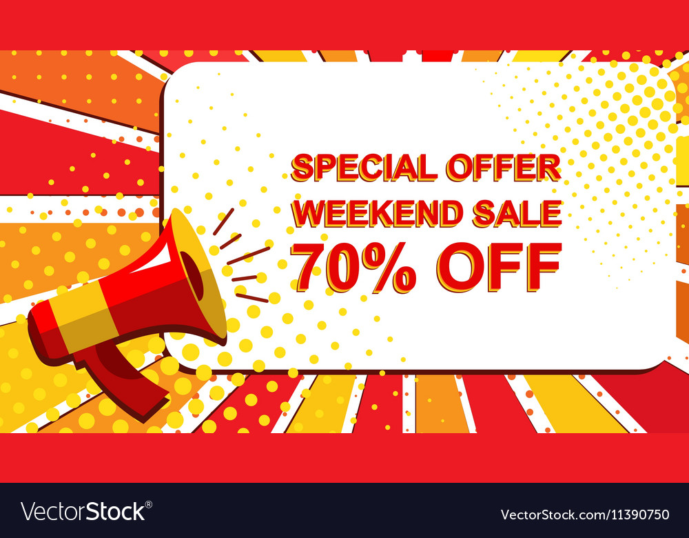Megaphone with SPECIAL OFFER WEEKEND SALE 70 vector image