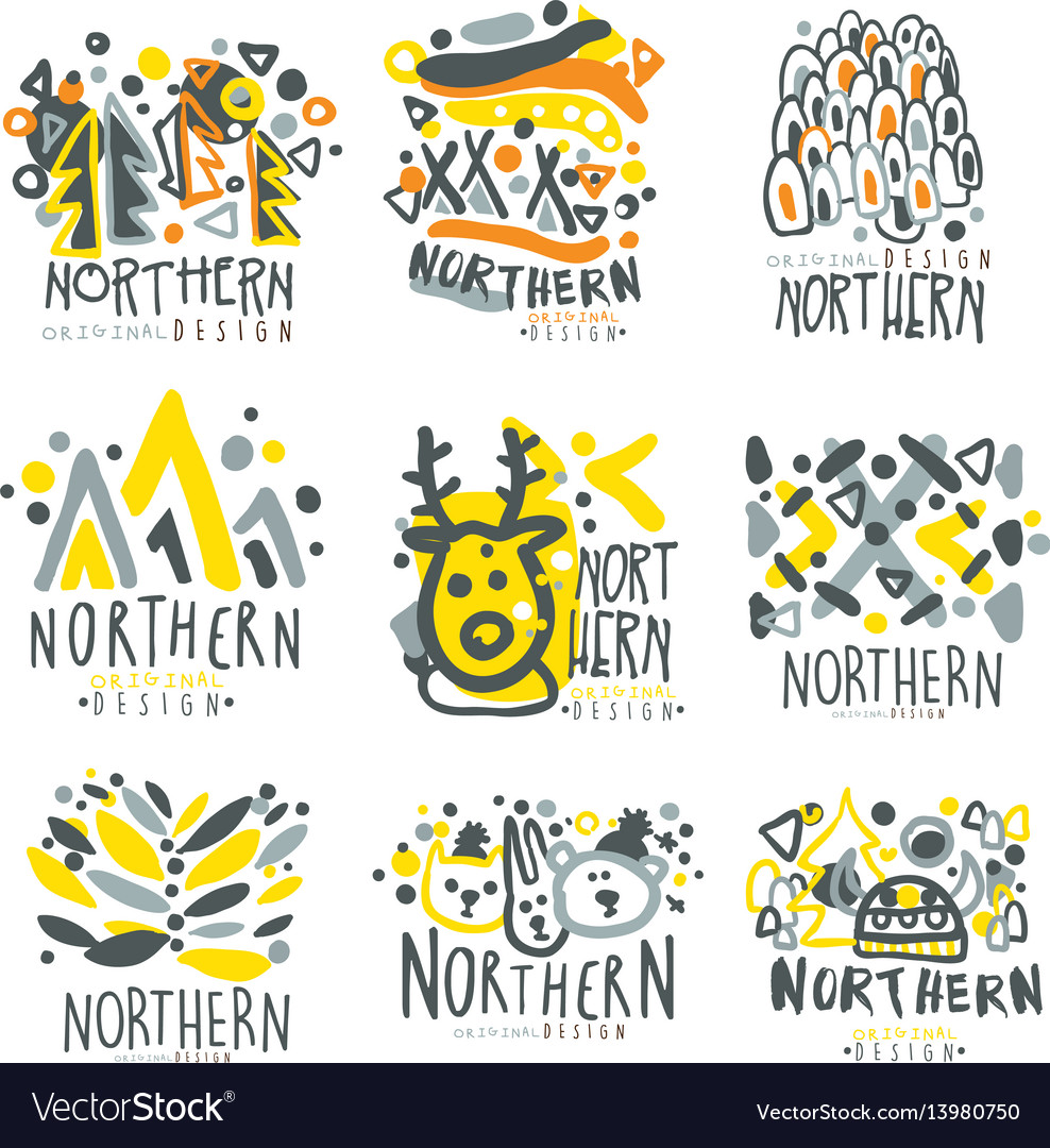 Nothern set for label design winter vacations