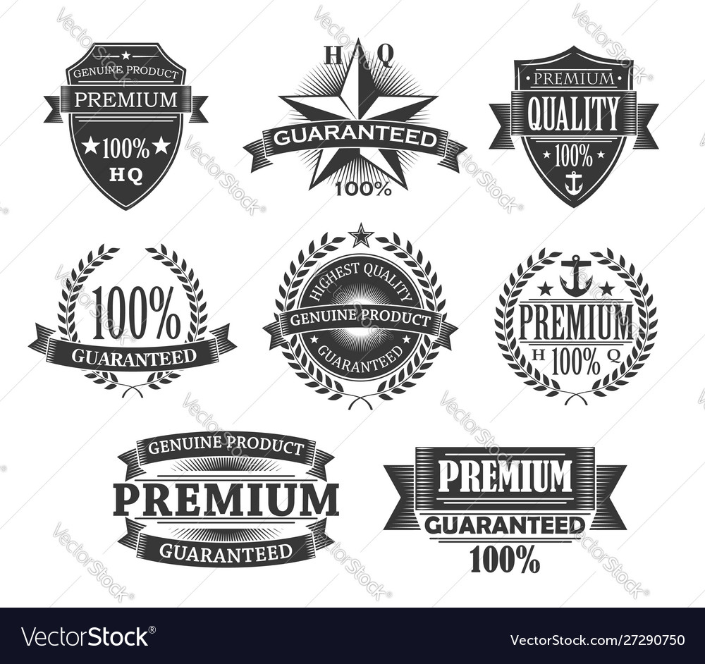 Premium quality product badges guarantee labels