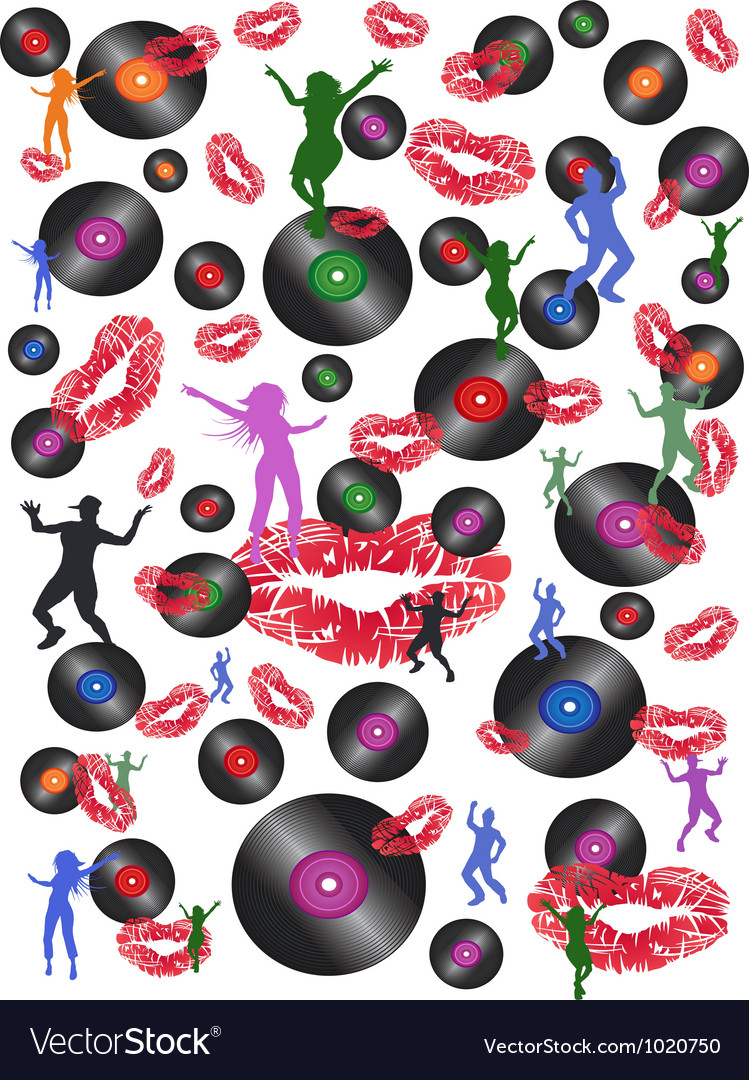 Seamless disco music and dance background vector image