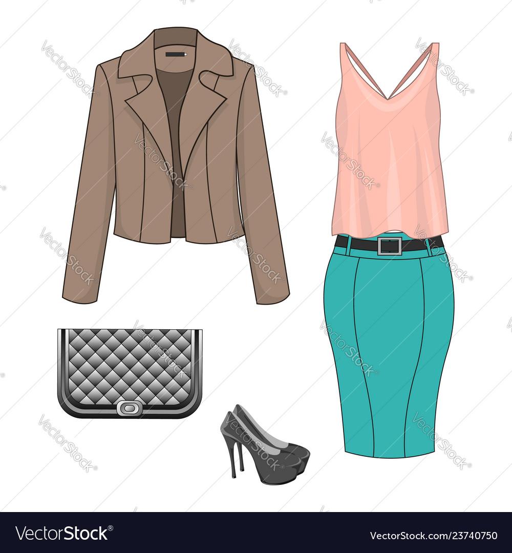 bb315de04634 Set of fashion clothes Royalty Free Vector Image