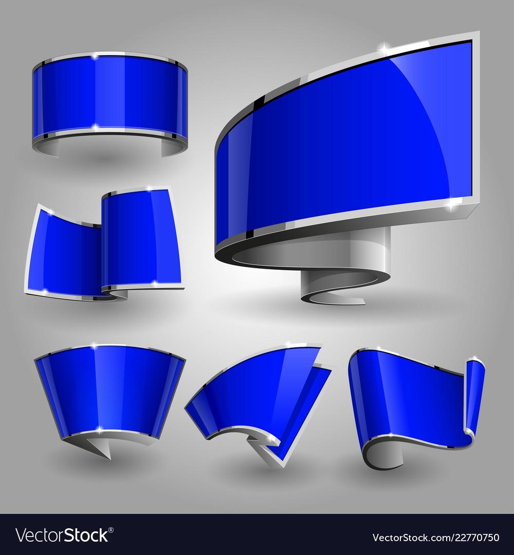 Shiny gloss blue banner set