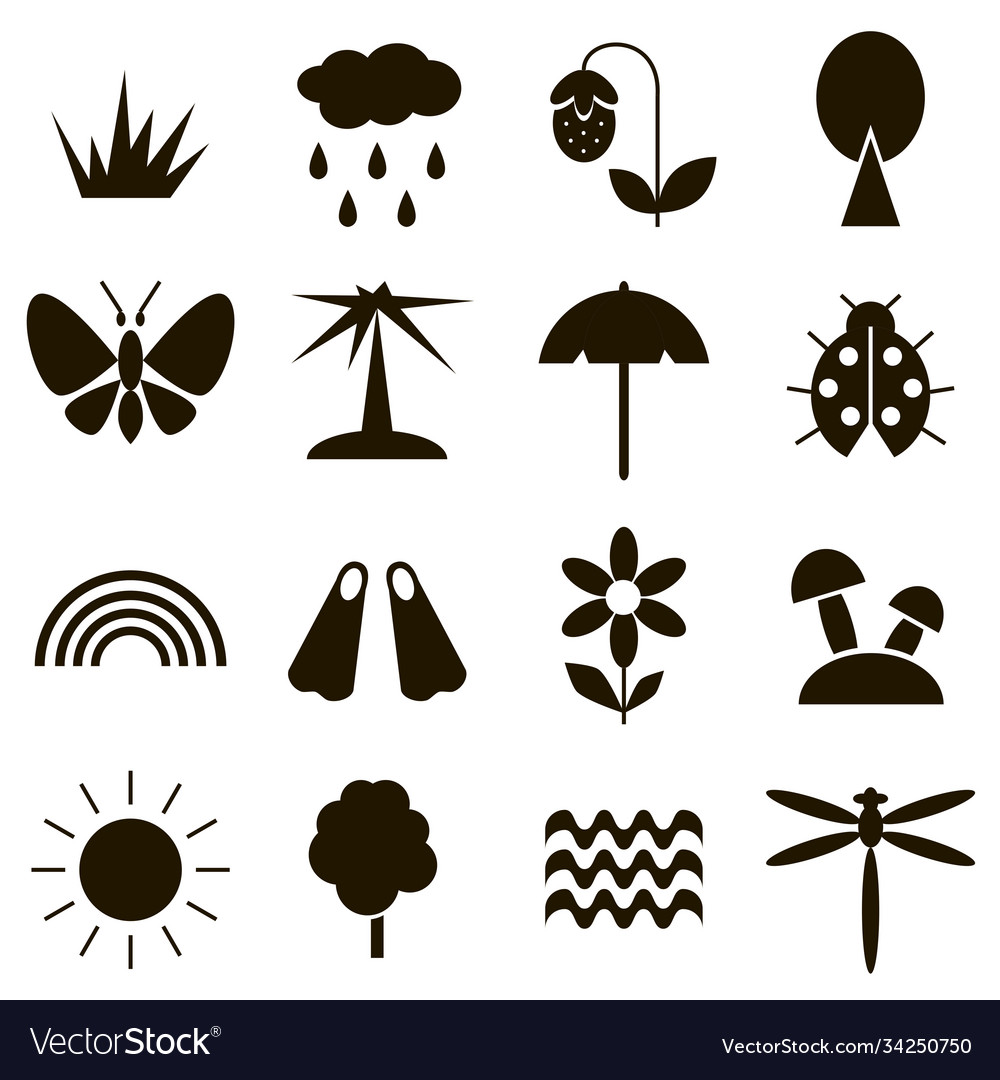 summer icon set black royalty free vector image vectorstock