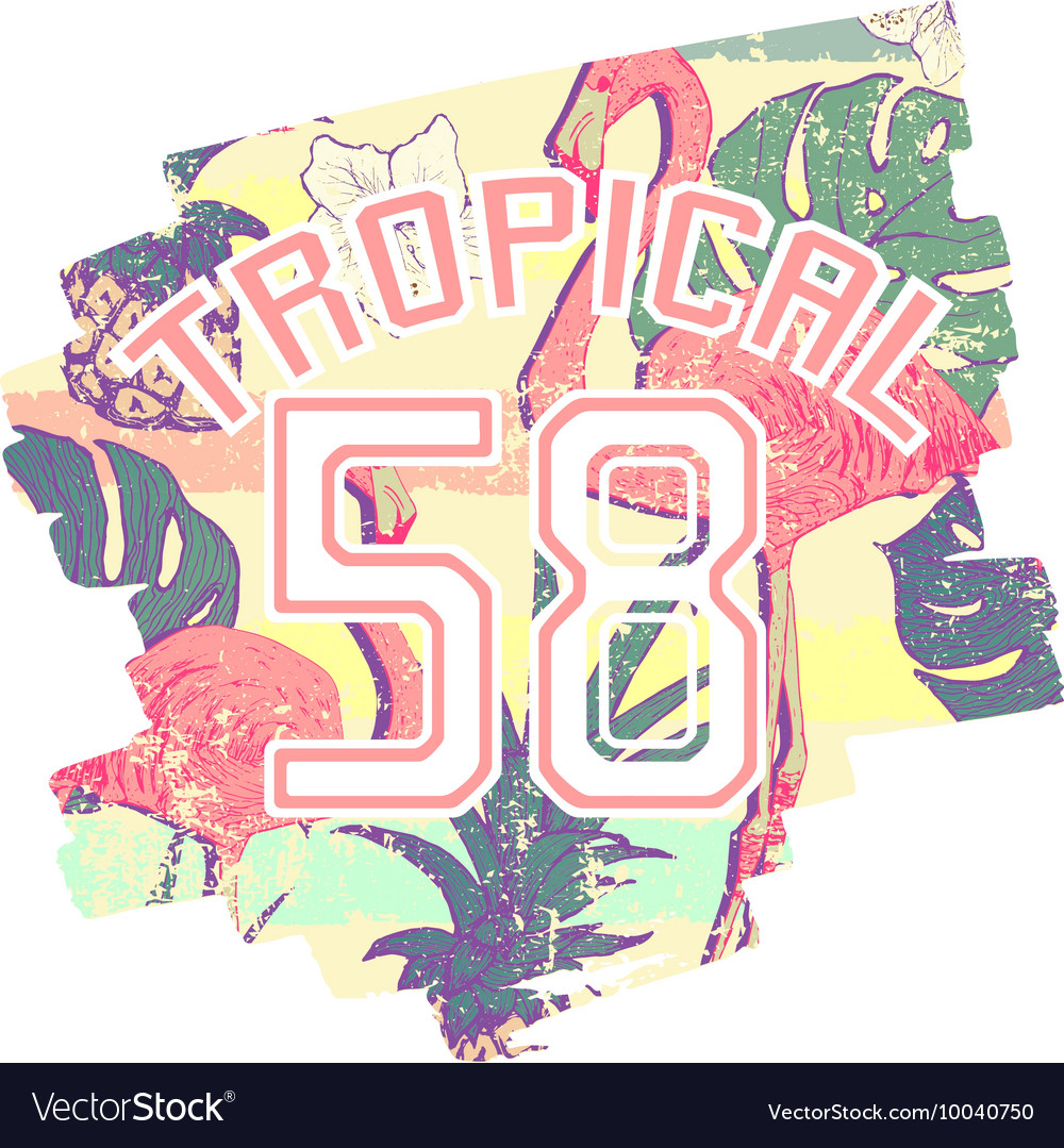 Tropical print with flamingos and number in