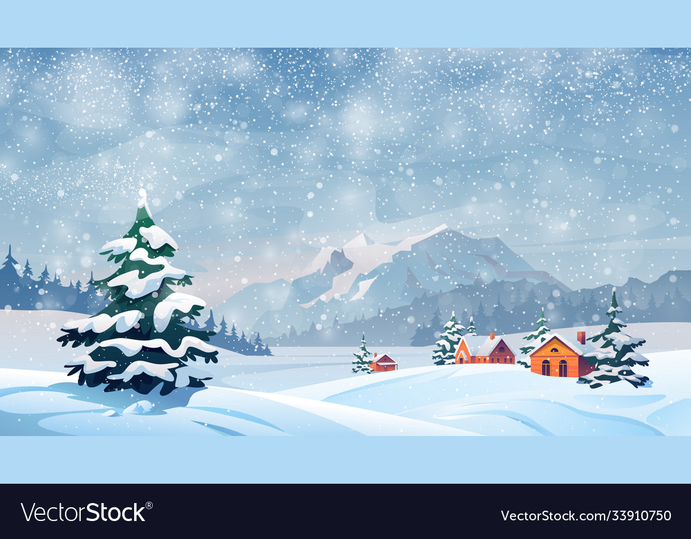 Winter snow landscape houses snowflakes falling vector