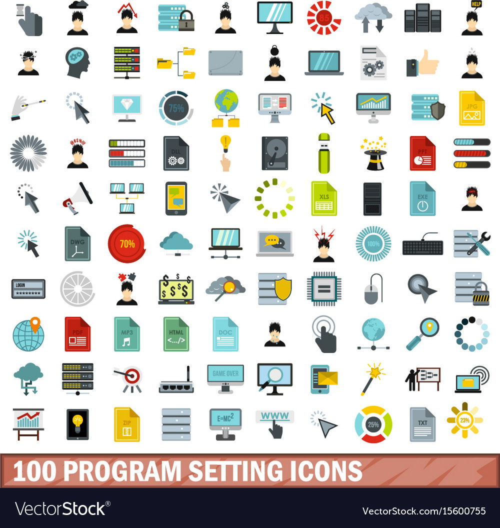 100 program setting icons set flat style