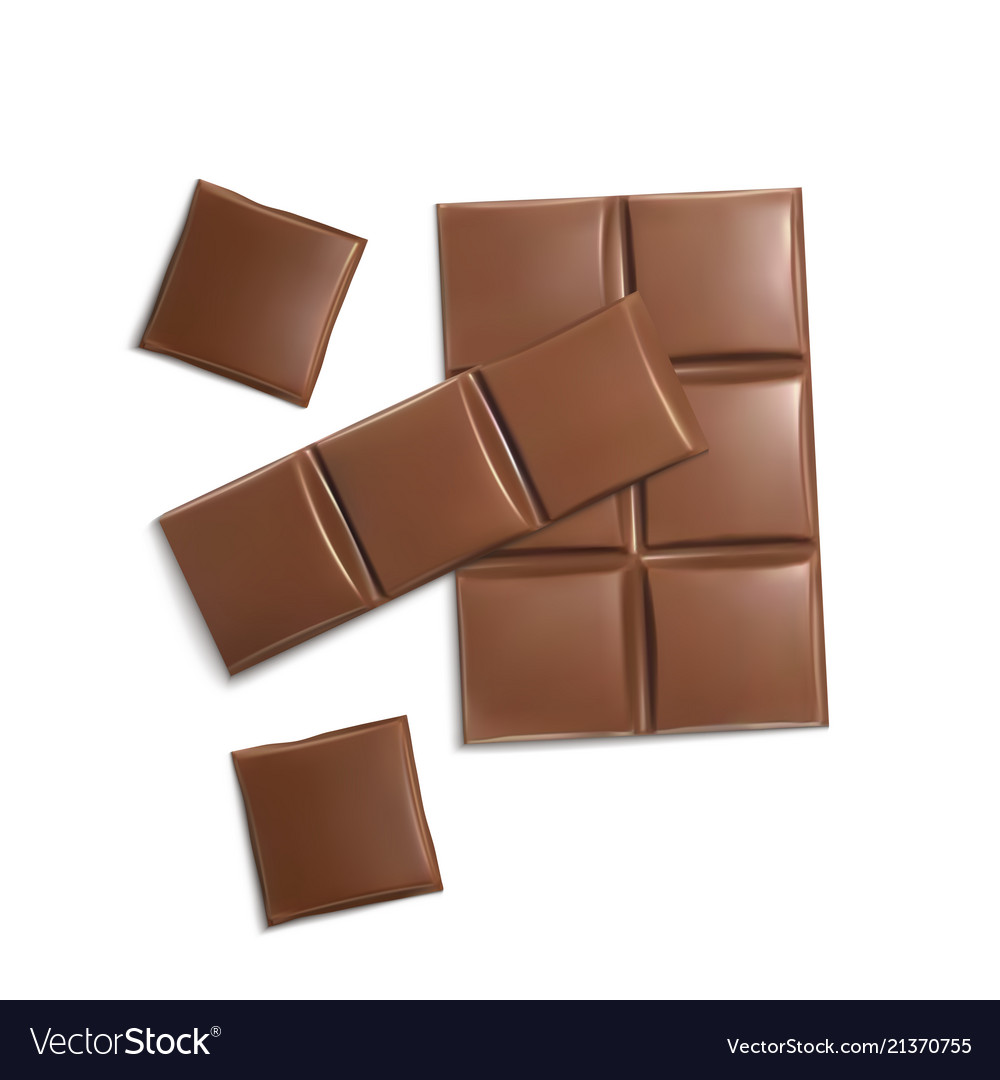 3d realistic brown chocolate bars pieces