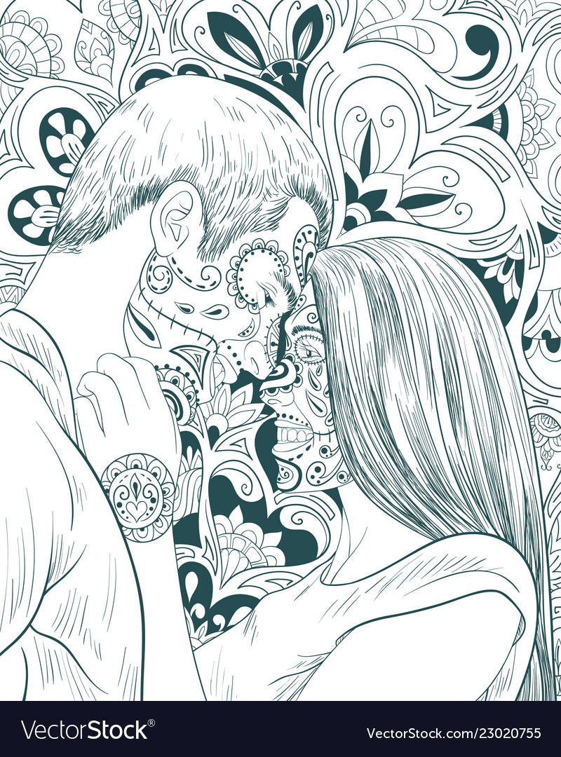 Adult coloring bookpage a pair people in love on