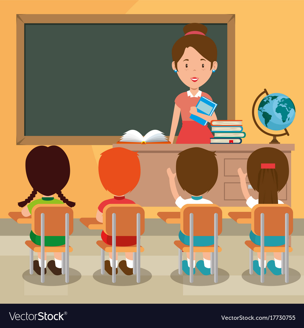 back to school teacher teaching to her students vector image animated school bag clipart Animated Clip Art Students