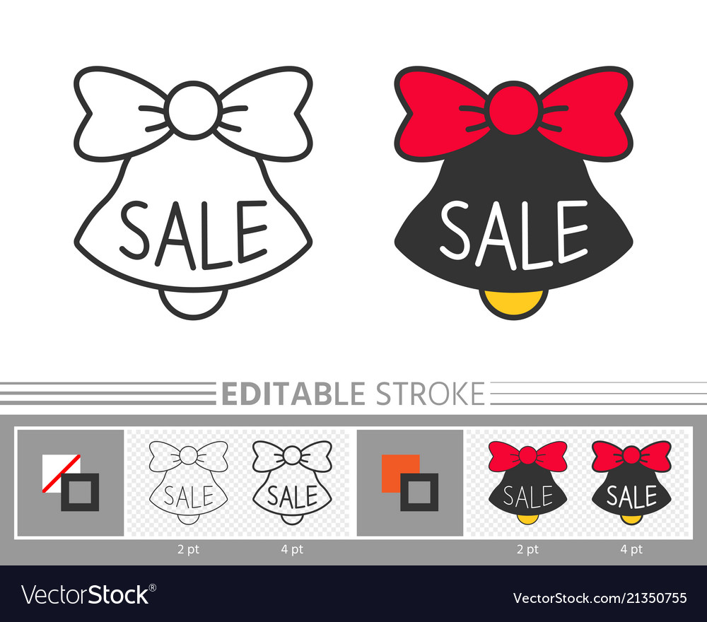 Bell jingle sale ring linear icon editable stroke vector
