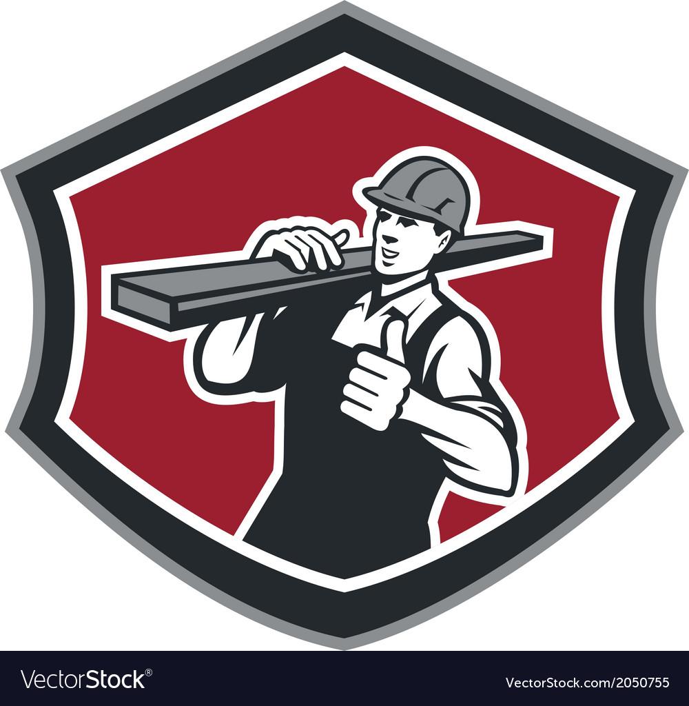 Builder Carpenter Carry Timber Thumbs Up Retro