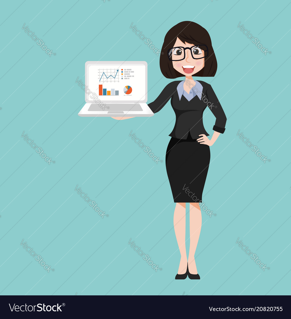 Businesswoman character with notebook