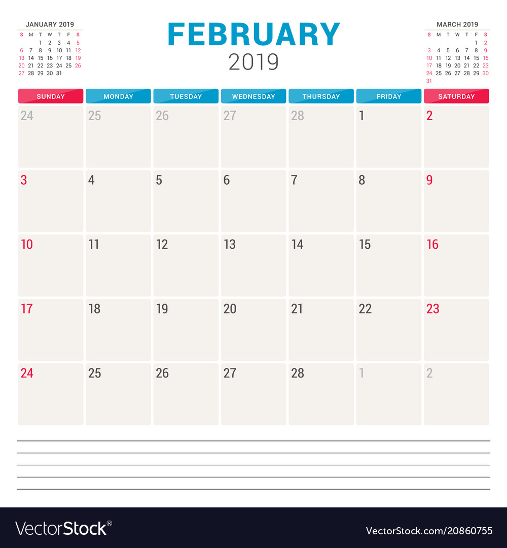 February Weekly Calendar 2019 Calendar planner for february 2019 week starts on Vector Image