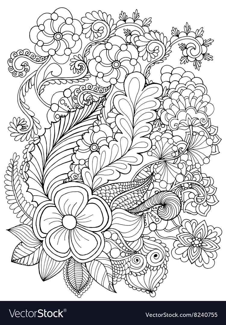 - Fantasy Flowers Coloring Page Royalty Free Vector Image