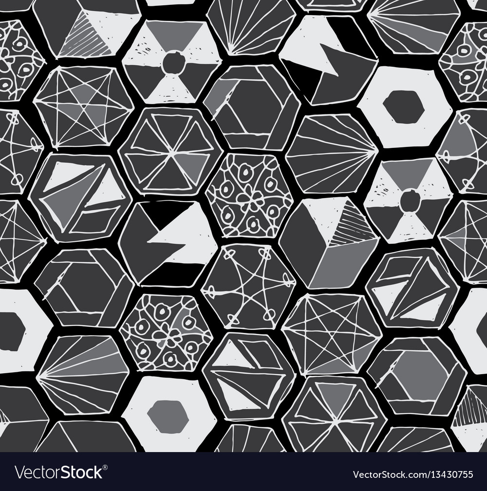 Hand drawn doodle hexagons seamless pattern