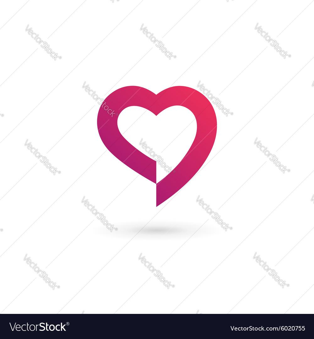 Heart symbol speech bubble logo icon design