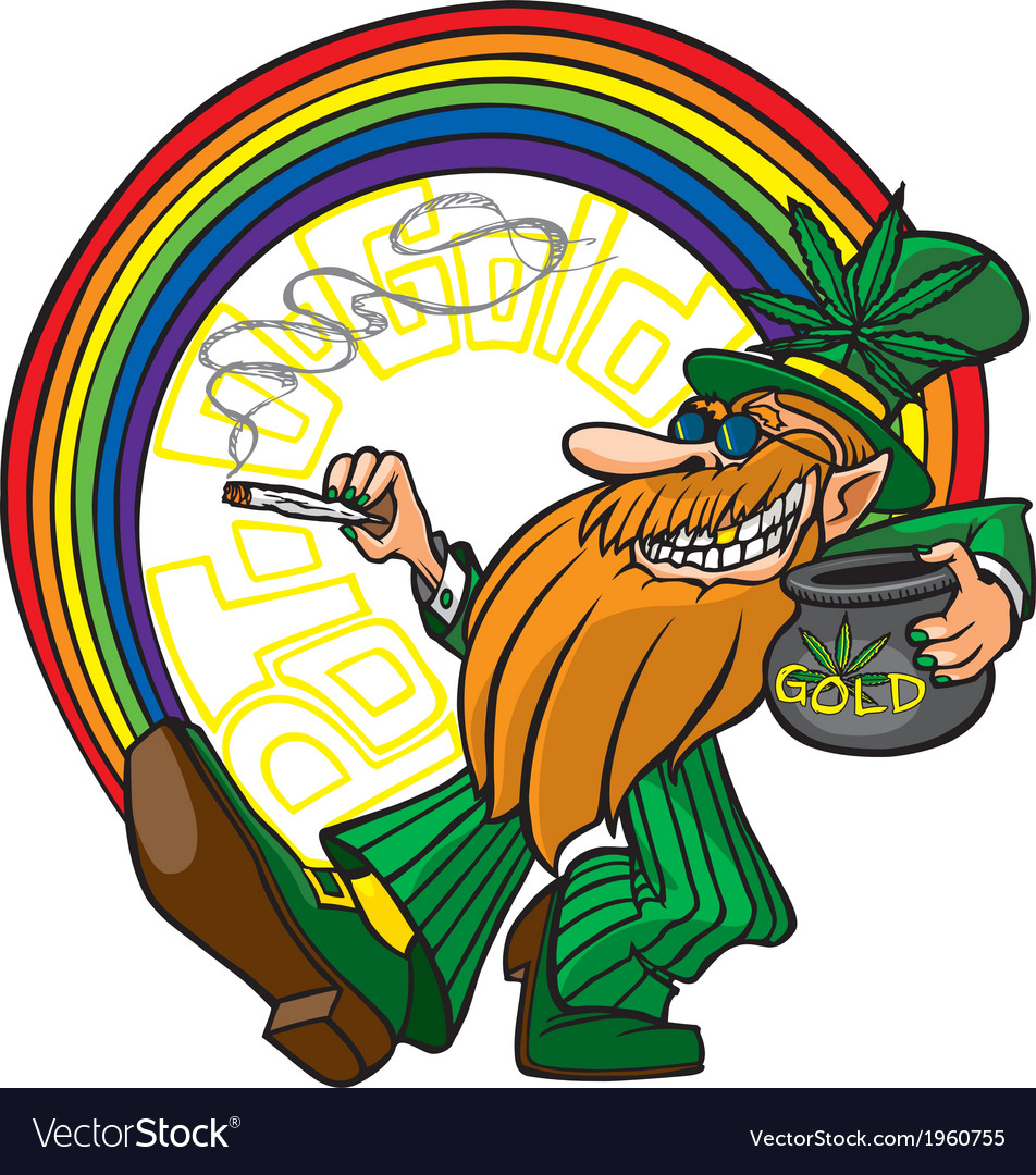 Pot o gold leprechaun vector image