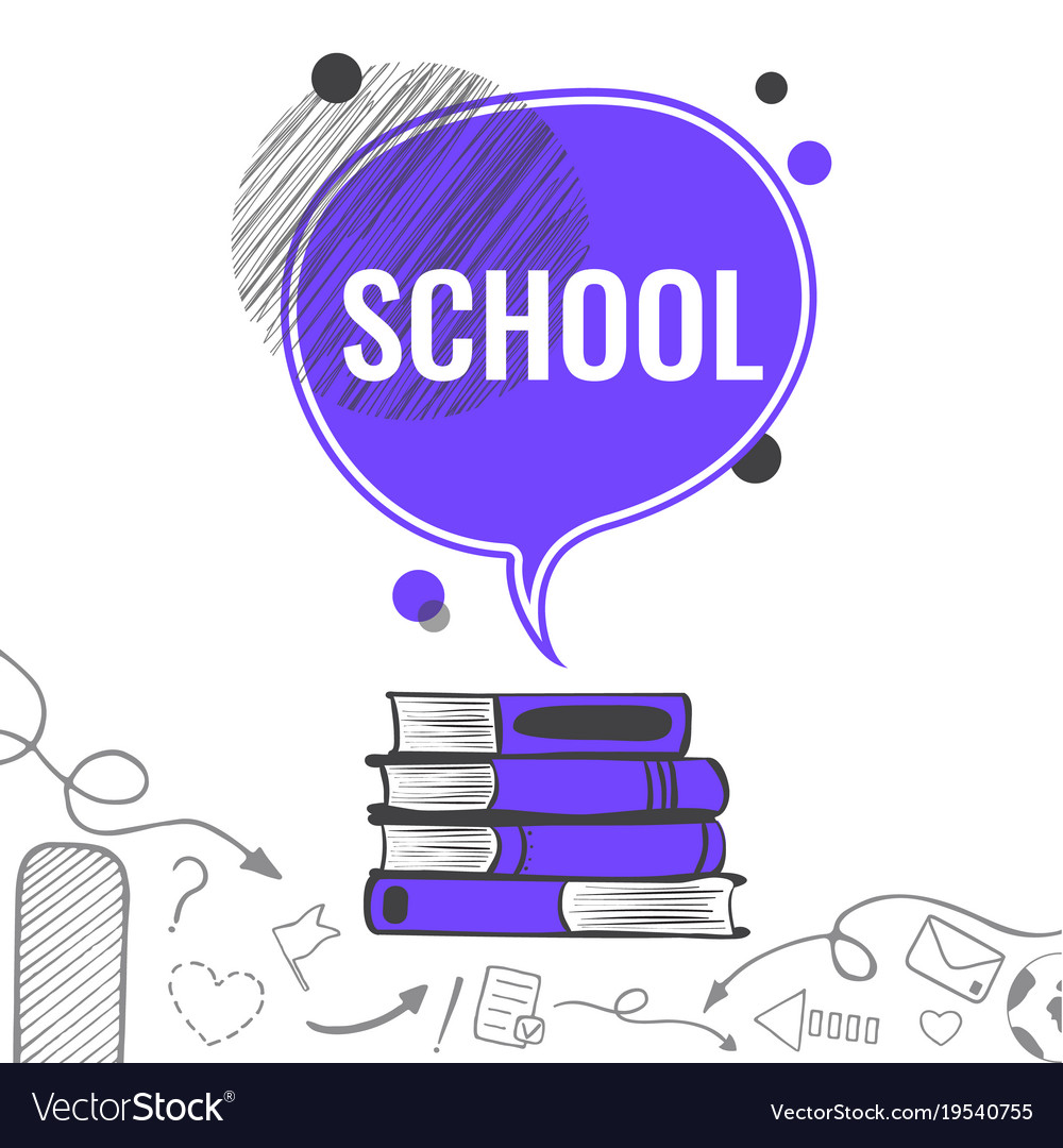 School background with violet speech bubble