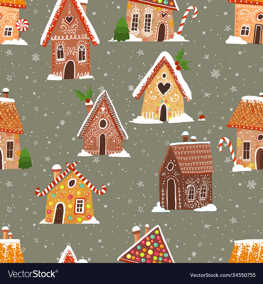 Seamless pattern with cartoon house gingerbread