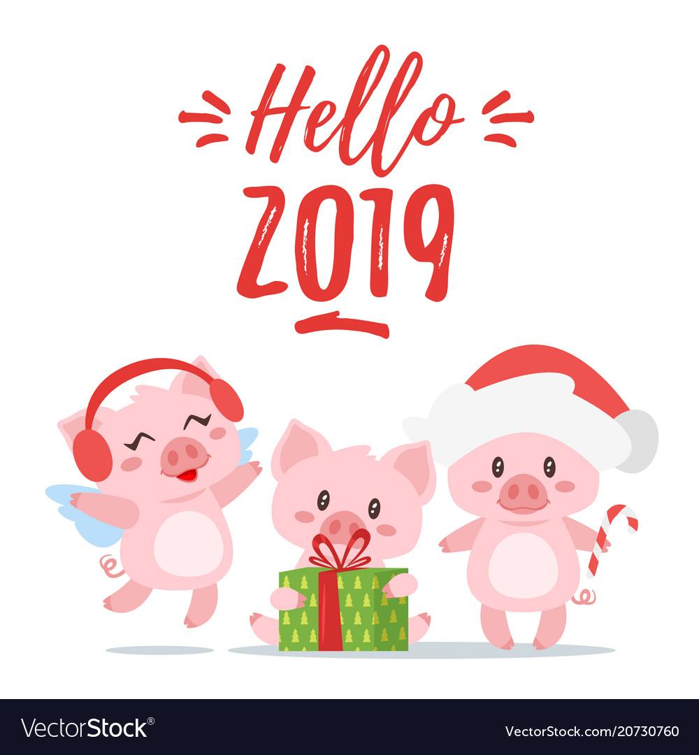 2019 New Yea Christmas Greeting Card Royalty Free Vector