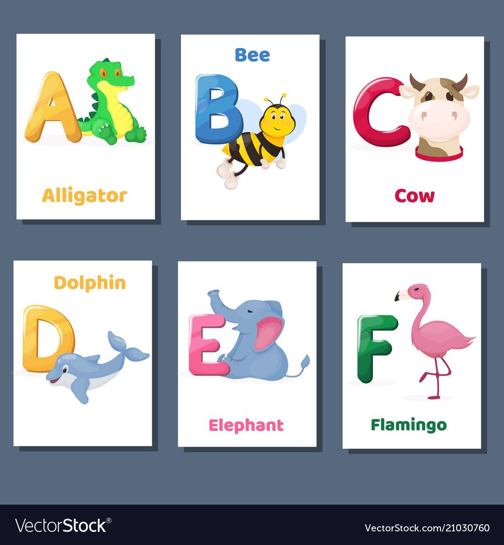 Alphabet printable flashcards collection