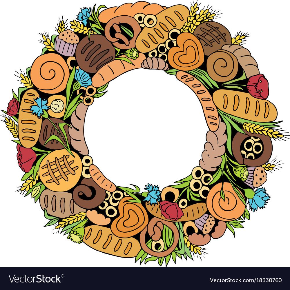 Bread wreath2 vector image