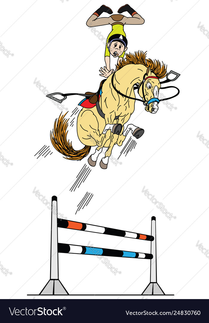 Cartoon High Equestrian Jump Royalty Free Vector Image