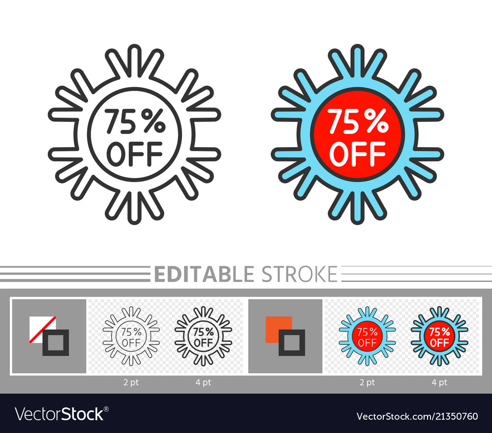 Christmas new year snowflake percent off line icon