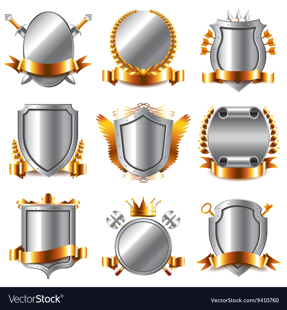 Crests and coat of arms icons set