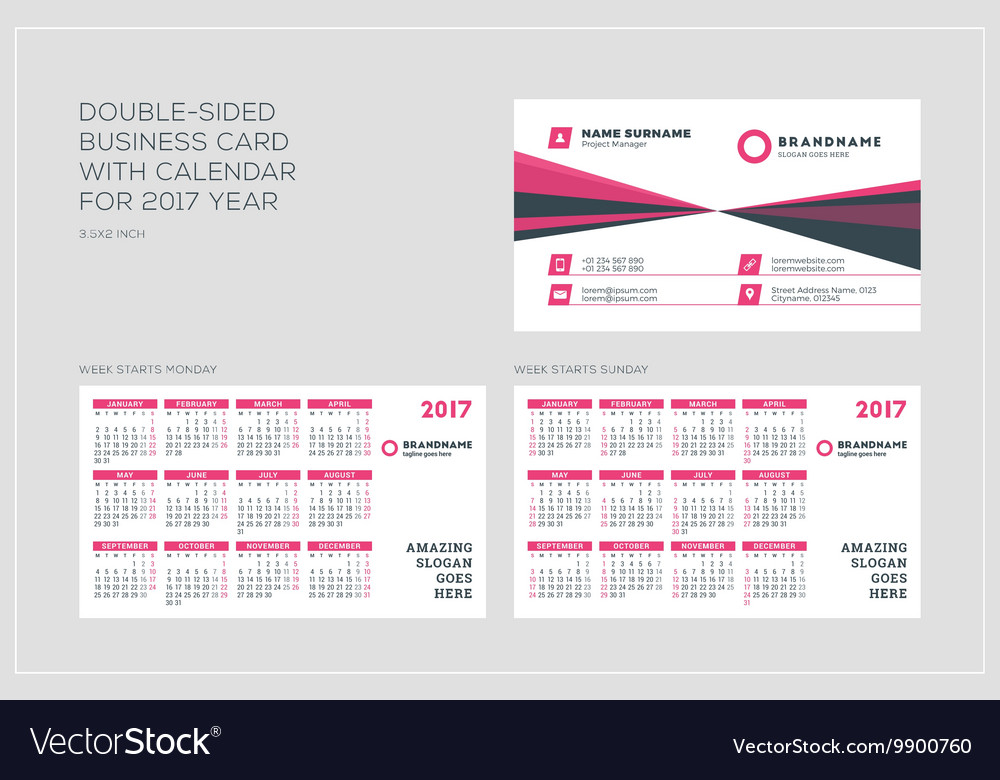 Business card size calendar set of calendar grid for years 2017 double sided business card template with calendar vector image reheart Image collections
